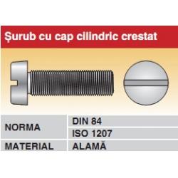 Surub cu cap cilindric crestat DIN84 ISO12 alama