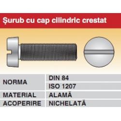 Surub cu cap cilindric crestat DIN84 ISO1207 alama nichelata