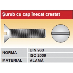 Surub cu cap inecat crestat DIN963 ISO2009 alama