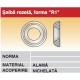 Saiba rozeta forma R1 alama nichelata