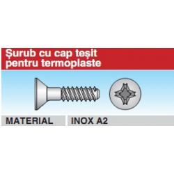 Surub cu cap tesit pentru termoplaste Inox A2