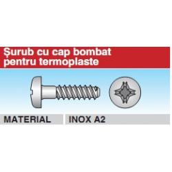 Surub cu cap bombat pentru termoplaste Inox A2